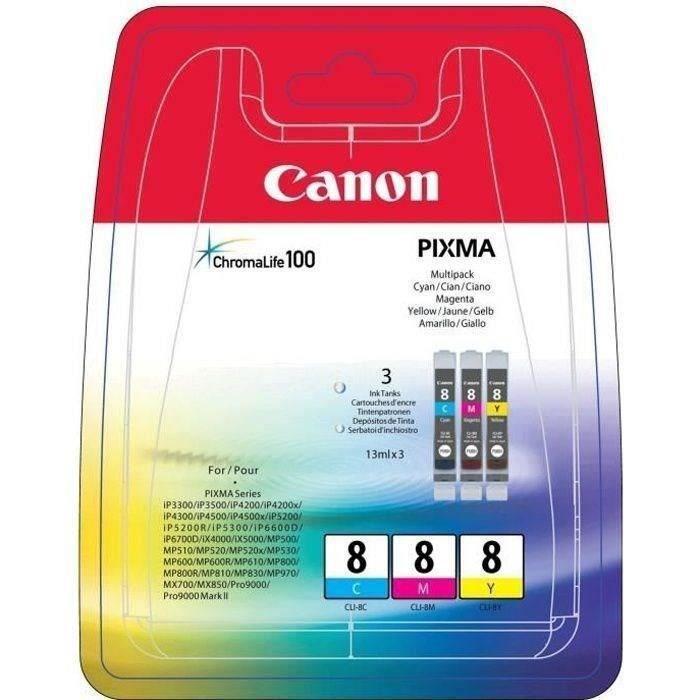 Canon Pack 3 Cartouches Cli 8 C/M/Y 3 couleurs pour impression photo