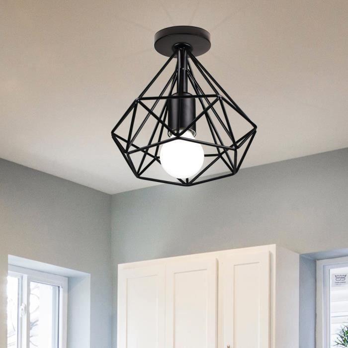 MOGOD Plafonnier E27 Lampe Suspension - Diamant Noir