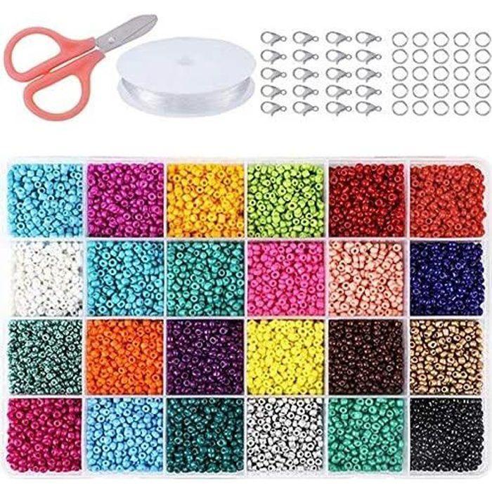 24 Couleurs 2mm Perles Poney Loisirs Créatifs avec Boîte de Rangement Perles Plastique Transparent pour Couture Bracelets Colliers C