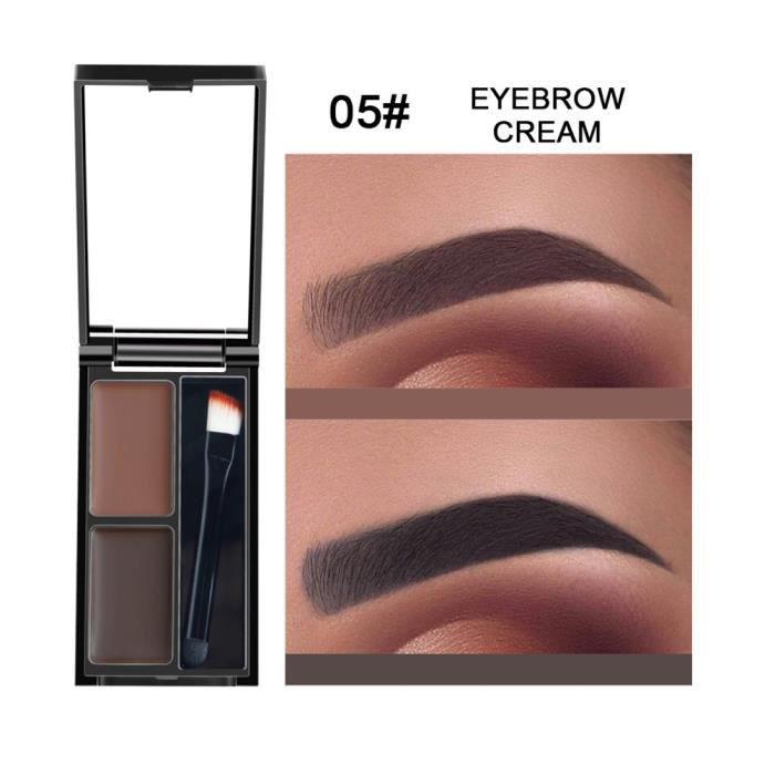 SOURCILS Kit d'ombrage cosmétique de palette de sourcils de poudre de sourcil de 2 couleurs avec le miroir de brosse E WTX80627483E
