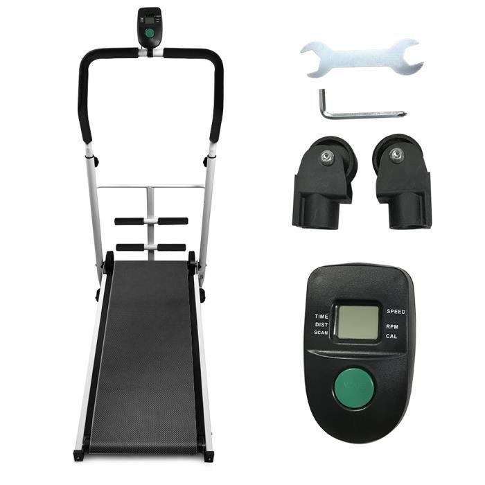 Tapis de Course Pliable Tapis de Marche Manuel avec écran LED Courir Mini Fitness pour la Maison ou Le Bureau - noir