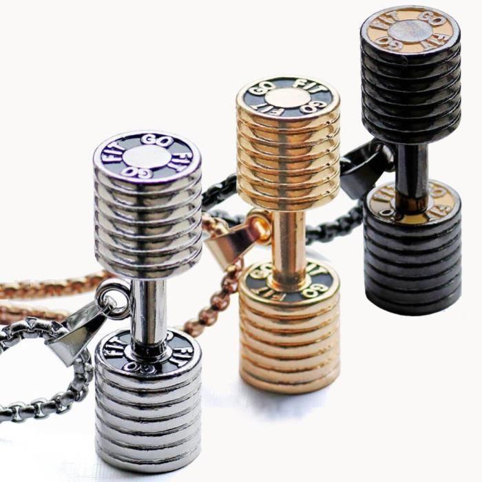 Pendentif haltère collier Fitness musculation Gym 2 taille 3 couleur Crossfit collier haltères bijoux Fitness acier inoxydable Chai
