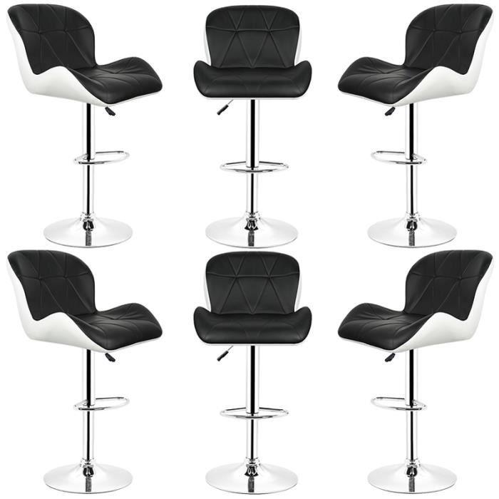 MISS Chaise Tabouret de bar lot de 6 Noir Luxe en similicuir Rotation à 360° Hauteur réglable