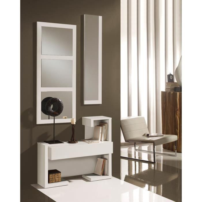 Meuble d'entrée Blanc Laque + miroirs - PARIS - L 87 x l 30 x H 75 cm