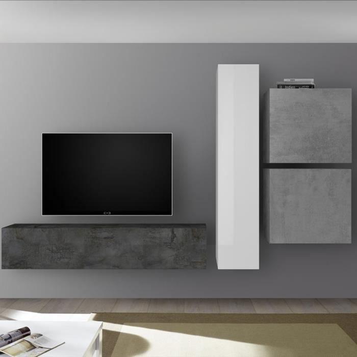 Meuble TV avec rangement gris et blanc laqué PUNTA Gris L 260 x P 30 x H 180