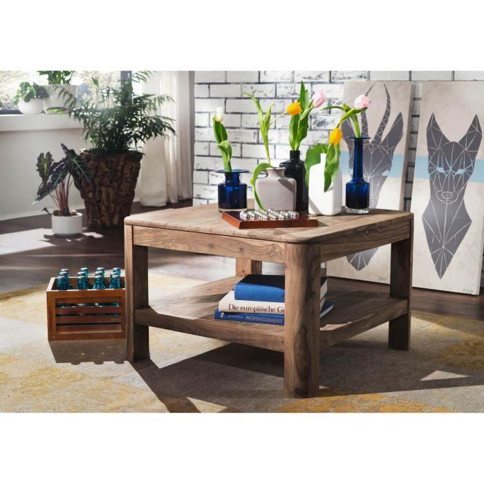 Table basse carrée 70x70cm - Bois massif de palissandre teinté (Smoked Cherry) - TORONTO #106