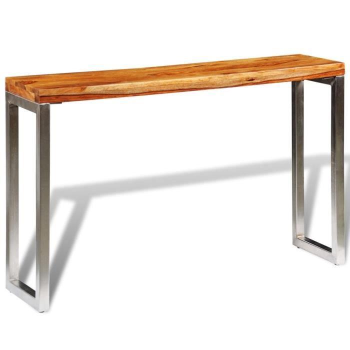 Table Console Console Extensible avec pieds en acier Bois Massif de Sesham