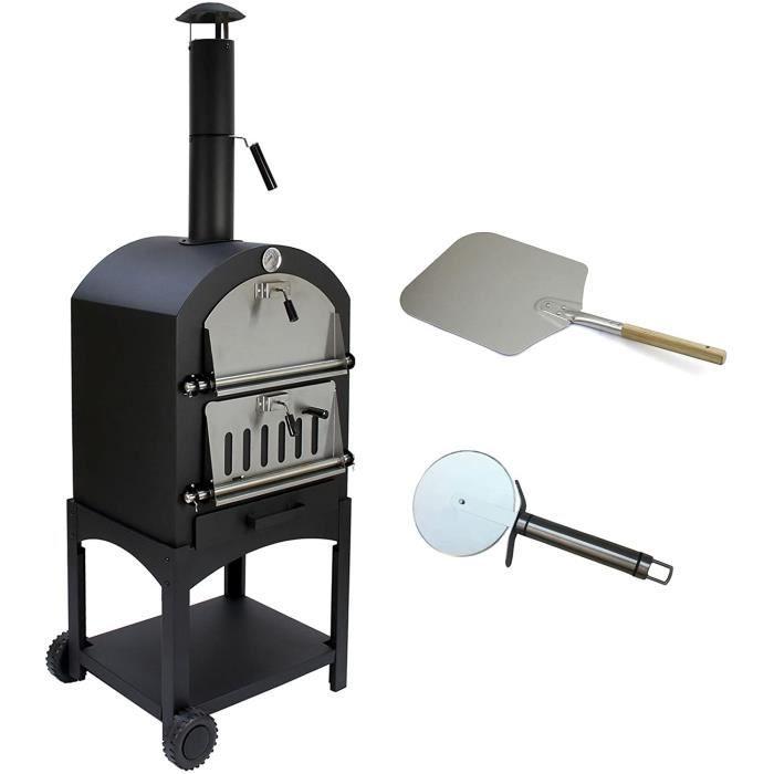 Bc-elec - HPO01 Four à Pizza 157x50x64cm four à pizza à charbon ou bois, pierre réfractaire et thermomètre