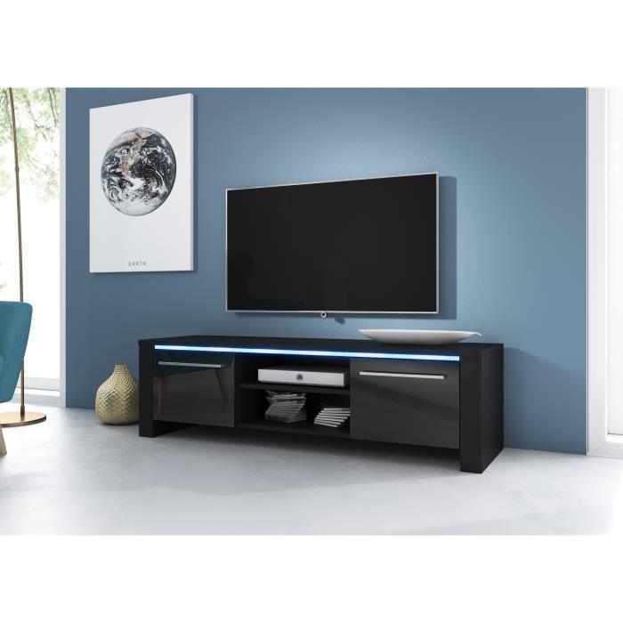 3xeLiving Meuble TV moderne Canaris noir / noir brillant 140cm LED