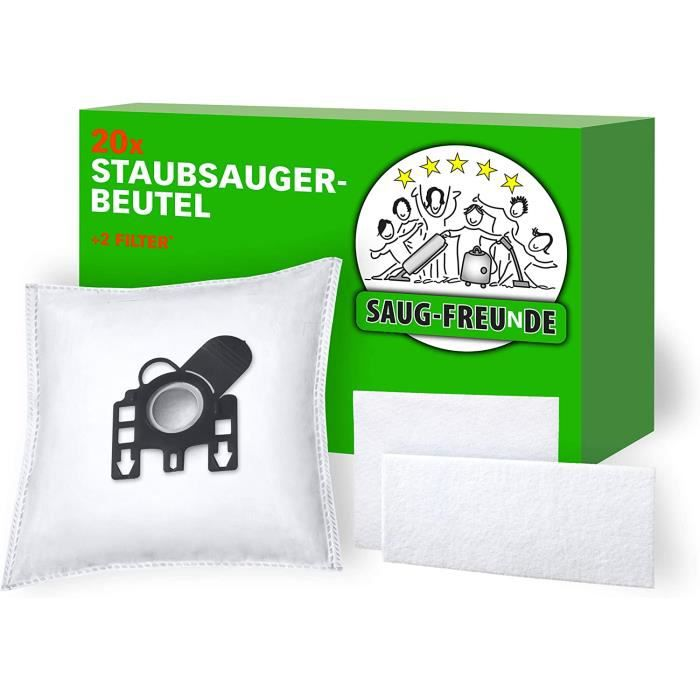 20 sacs d'aspirateur + 2 Filtre Convient pour Miele Compact C1 série