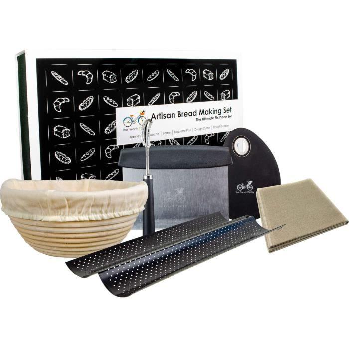 Kit de Fabrication du Pain - Panier de Banneton Entoilé - Toile à Couche en Lin français - Outil de Notation du Pain - Moule à
