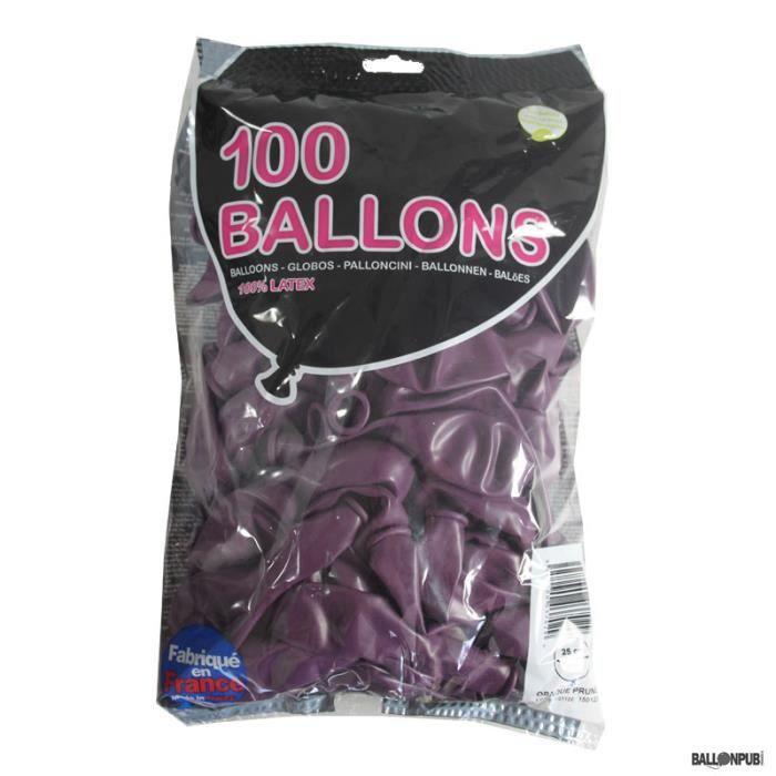 100 Ballons de Baudruche couleur Prune -