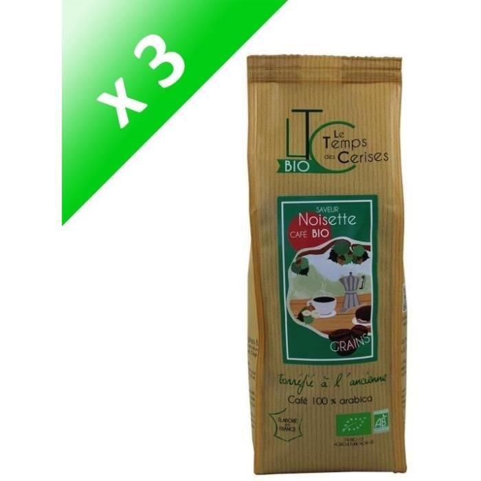 [LOT DE 3] LE TEMPS DES CERISES Café en grain BIO saveur Noisette - 250 G