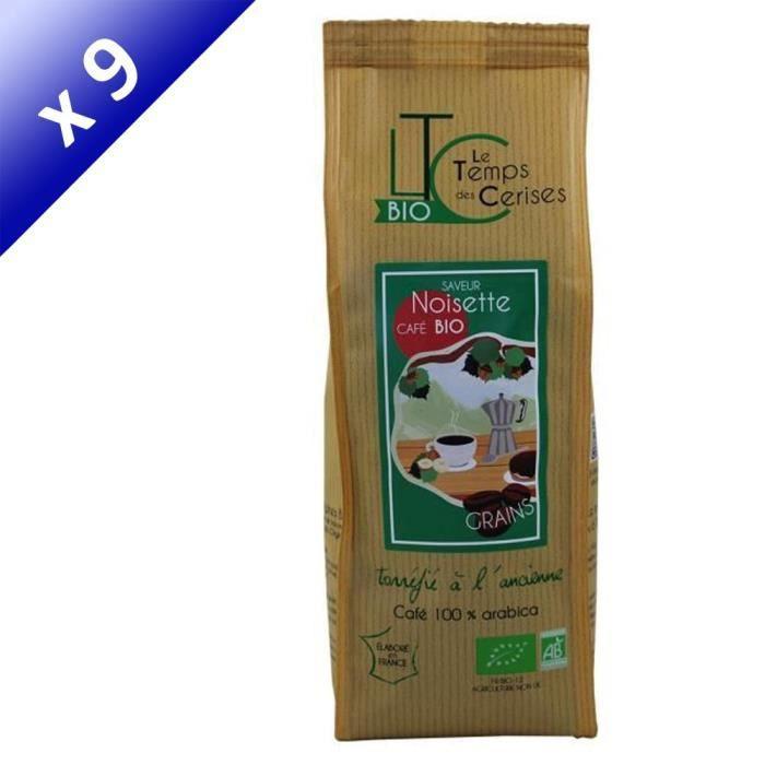 [LOT DE 9] LE TEMPS DES CERISES Café en grain BIO saveur Noisette - 250 G