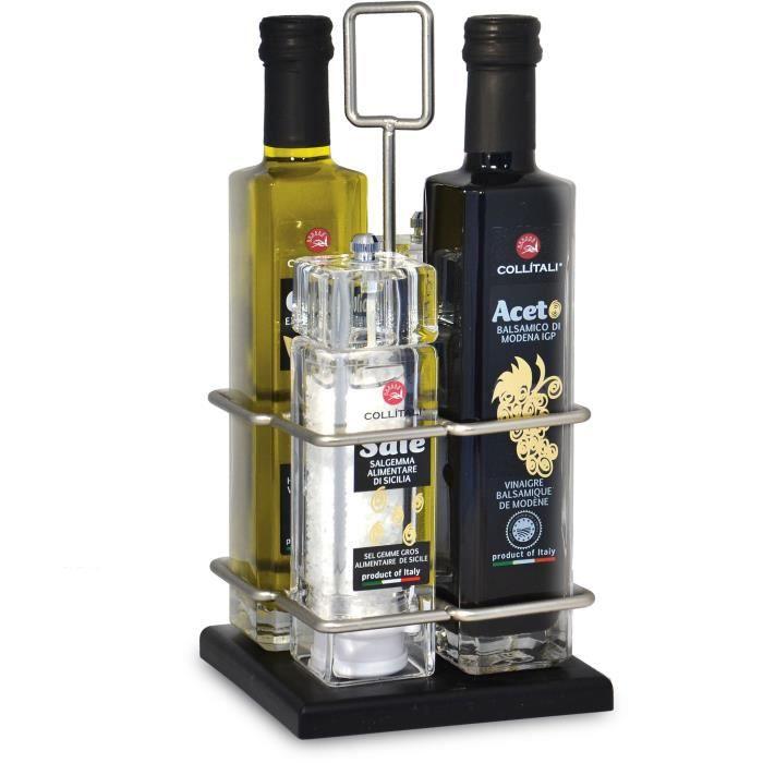 COLLITALI CONTESSA Huilier spray 4 pièces : huile olive, vinaigre balsamique Modène 2 x 250 ml : 2 moulins sel 85 g, poivre 37 g