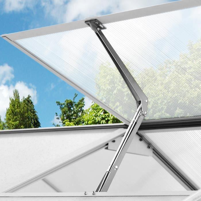 Ouvreur automatique de fenêtre argent pour serres et abris de jardin ventilation 7,5kg force de levage hauteur d'ouverture 45cm