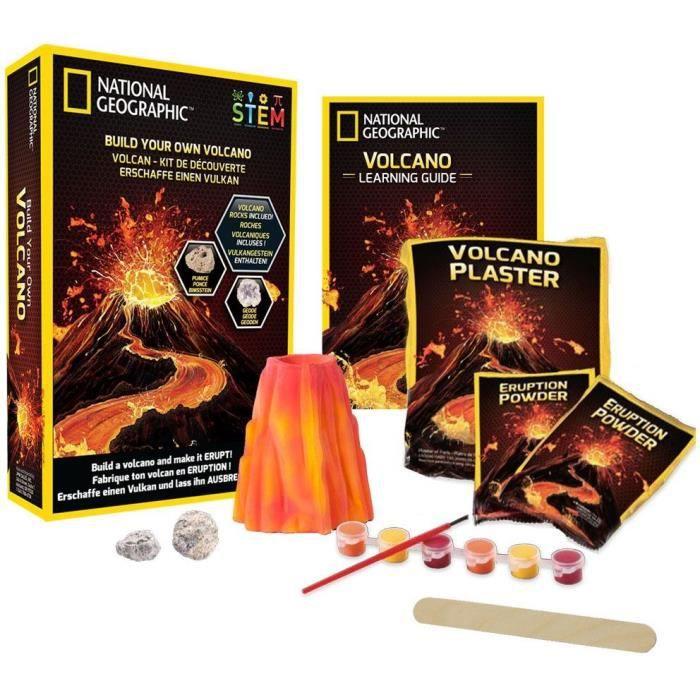 NATIONAL GEOGRAPHIC - Kit découverte - Volcan à fabriquer et faire entrer en éruption - 2 roches volcaniques incluses