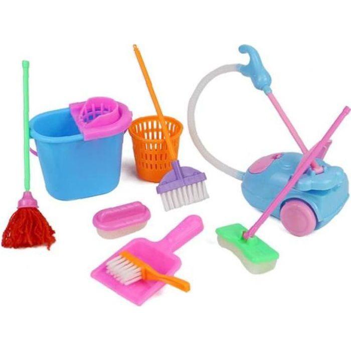 Ménage Jeux de rôles Toy Kit Mini Aspirateur outils de nettoyage Mop balai filles 9pcs enfants