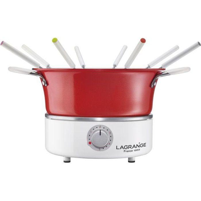 LAGRANGE Fondue festiv' avec ramequin - 900W - 8 fourchettes à fondue - Caquelon 1,2L