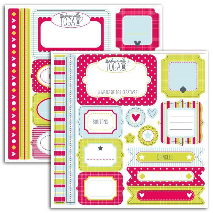 MLLE TOGA Lot de 2 planches de stickers fantaisie - 150x150 cm