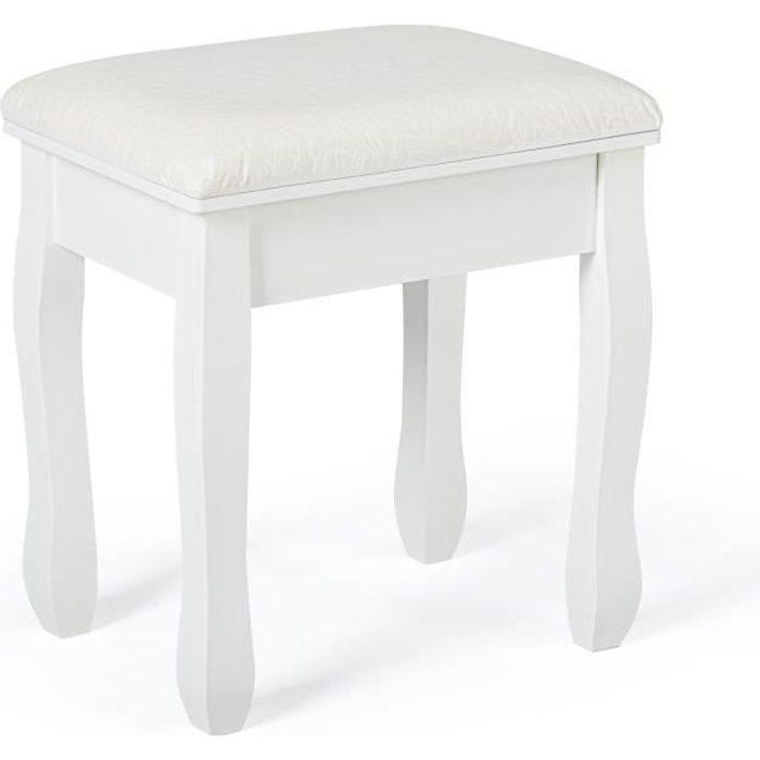Tabouret en Bois pour Coiffeuse Meuble, Table de Maquillage, Piano 41 cm x 35 cm x 45 cm Blanc-Meerveil