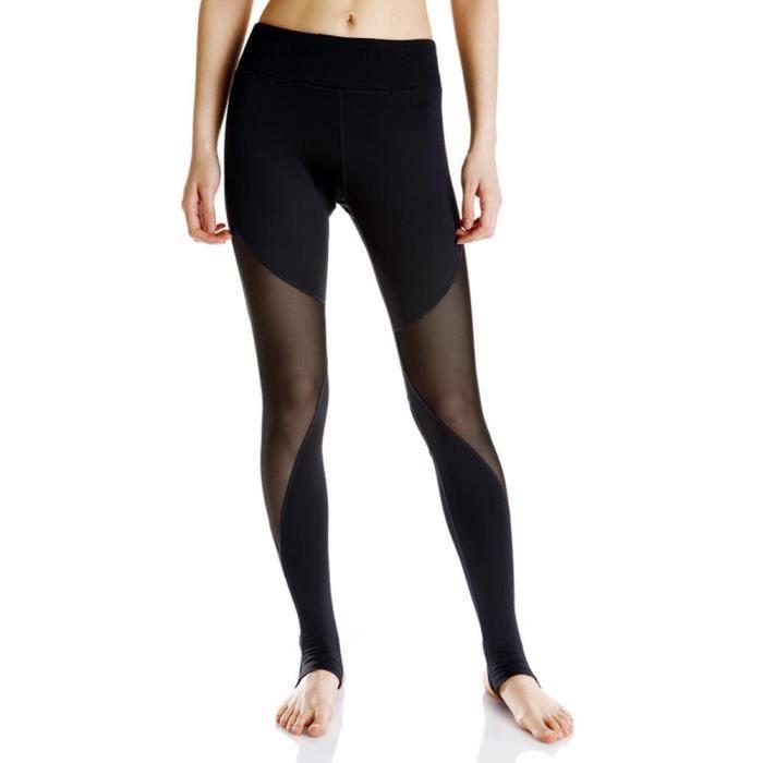 Pantalon Legging Sport Femme Yoga Taille Haute Amincissant Pantalon Stretch Gaze Transparent
