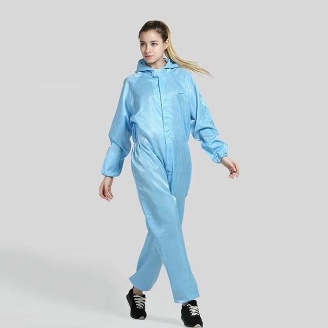 Zencart Hommes Femmes Anti-statique Vêtements à Capuchon Résistant à La Poussière Combinaisons Salle Blanche Vêtements Usine P