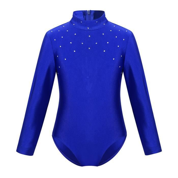 Enfant Fille Justaucorps Danse Classique Strass Manches Longues Brillant Dancewear 6-14 Ans Bleu