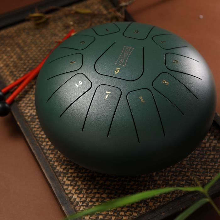 NEUFU 12'' Kit Aquadrum Air Tongue Drum Tambour de Langue Handpan Main 11 Sons Vintage Vert