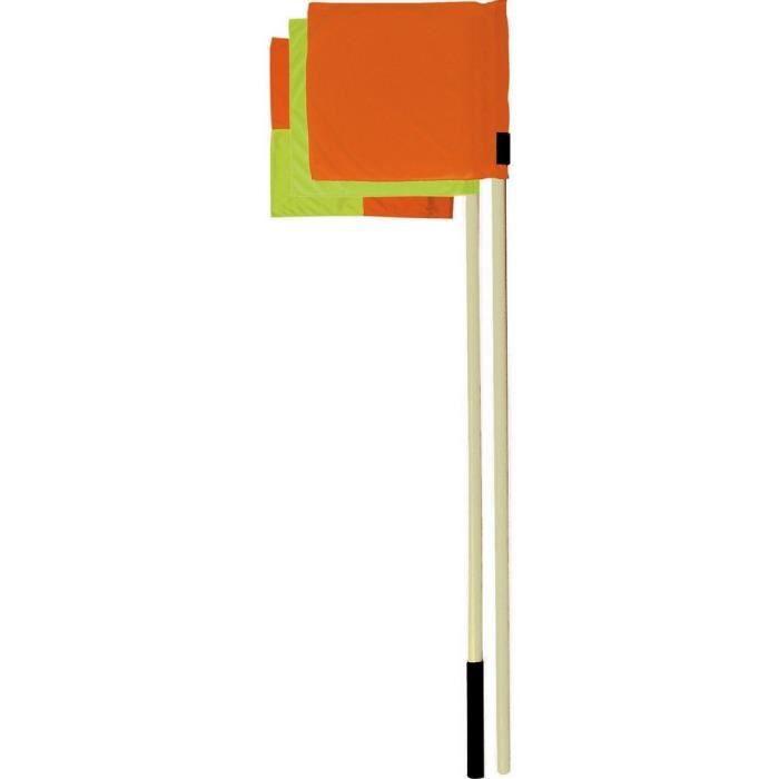 Lot 4 Poteaux de corner monotube, drapeaux rouge, jaune et blanc où à damiers