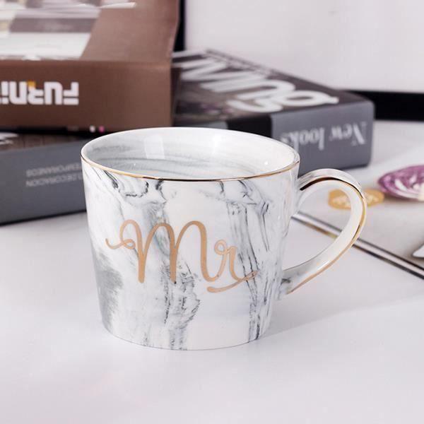 1 PCS MRS Tasses en ceramique de Couple plaque or Cadeau de l'amant Tasse du matin Lait cafe the Petit dejeuner Creatif Coupe