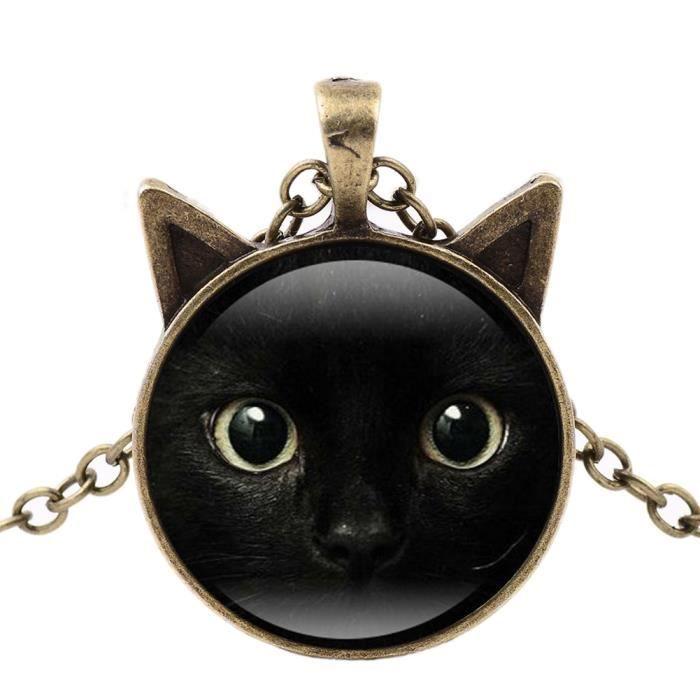 Vintage Black Cat Photo Cabochon Verre Noir Chaîne Collier Pendentif Bijoux Neuf