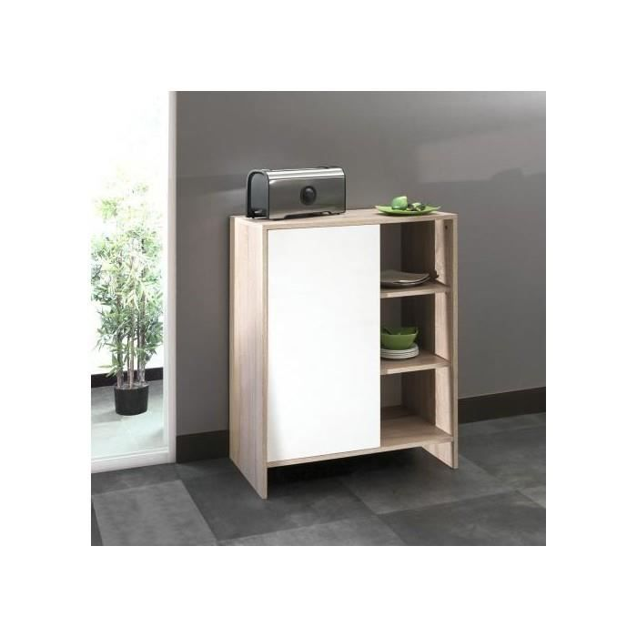 Meuble bas de cuisine 1 porte 3 niches 71 cm blanc chene for Meuble cuisine 15 cm