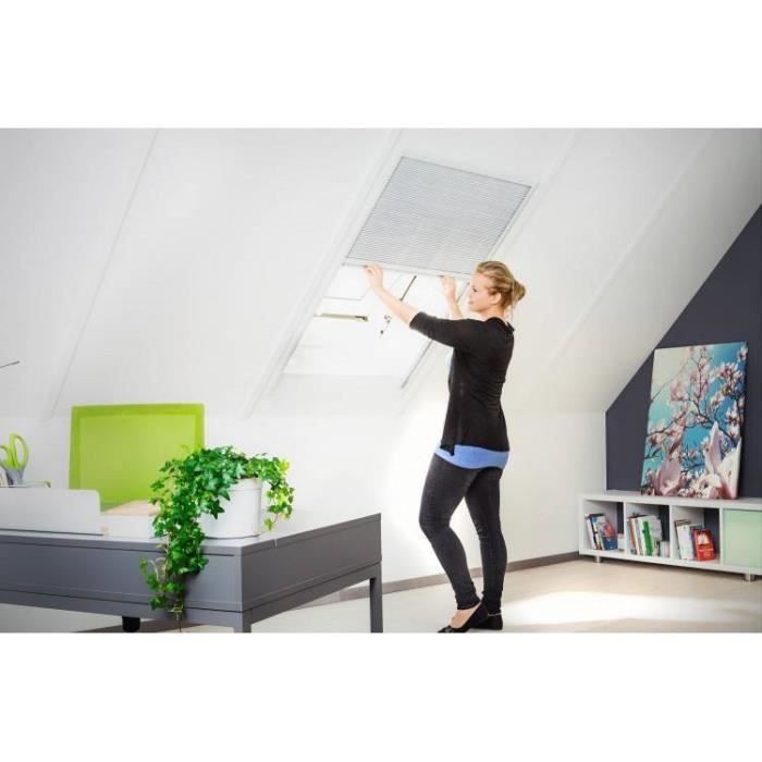 store pare soleil pliss pour velux et fen tre de toit l110xh160 cm blanc achat vente store. Black Bedroom Furniture Sets. Home Design Ideas