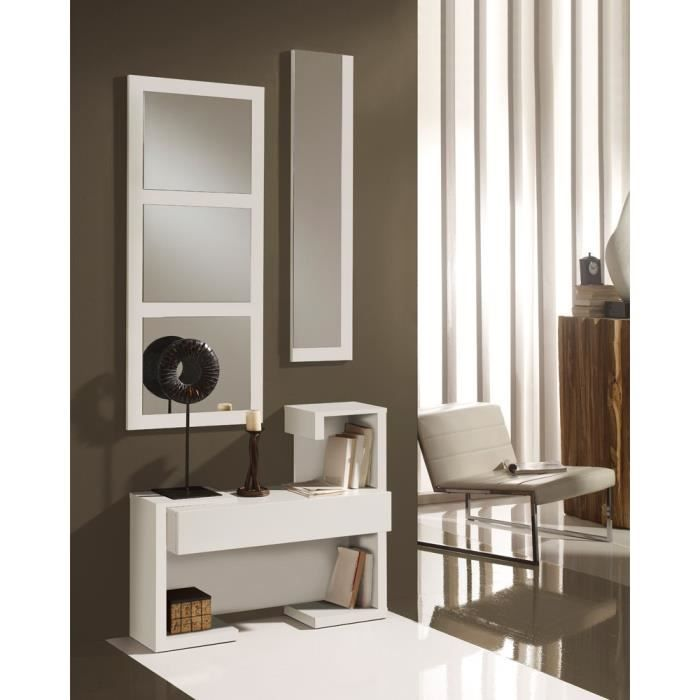 meuble d 39 entr e blanc laque miroirs paris l 87 x l. Black Bedroom Furniture Sets. Home Design Ideas