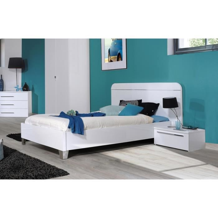 lit double blanc laque maison design. Black Bedroom Furniture Sets. Home Design Ideas