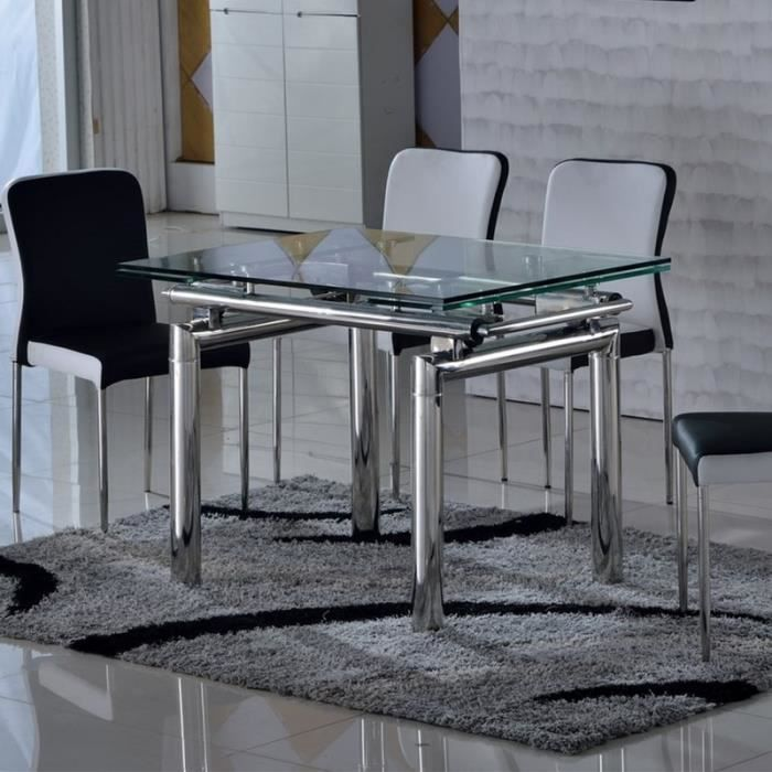 table en verre et inox rectangle extensible vinto achat vente table a manger seule table en. Black Bedroom Furniture Sets. Home Design Ideas
