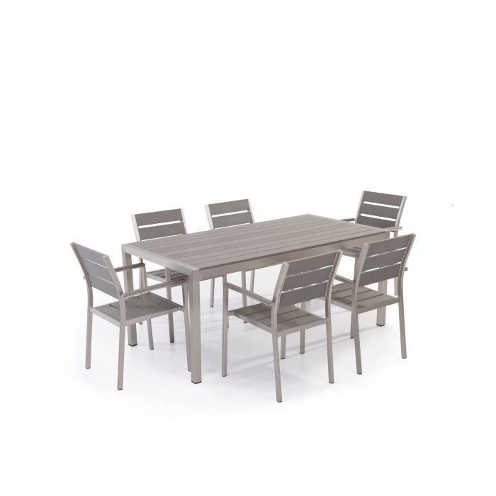 Table de jardin aluminium gris - plateau en polywood 180 cm et 6 chaises -  Vernio