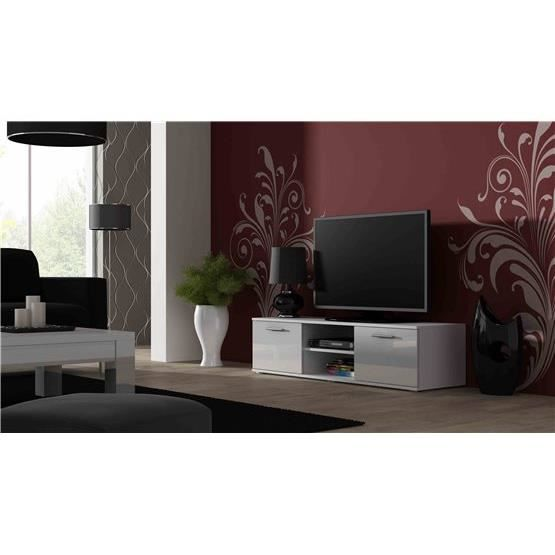 meuble tv design sano 140 cm blanc achat vente meuble. Black Bedroom Furniture Sets. Home Design Ideas