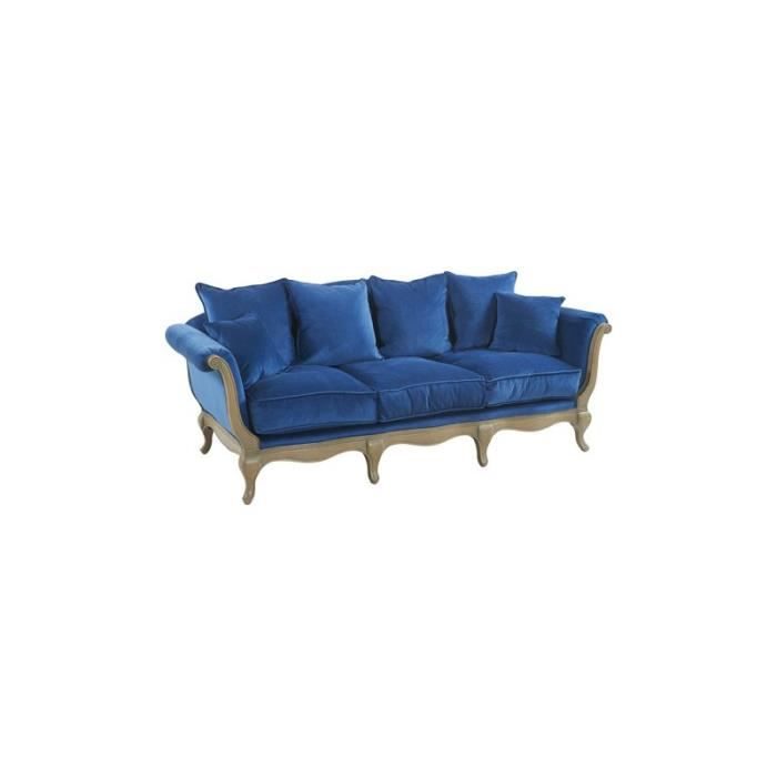 canap baroque en velours bleu mod le pompadour 3 places achat vente canap sofa divan. Black Bedroom Furniture Sets. Home Design Ideas