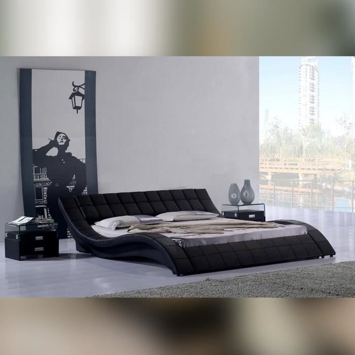 Lit design valentino 160cm en noir mod le confortable et for Lit design complet