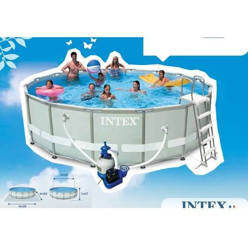 Piscine tubulaire ronde ultra frame intex 4 88m achat for Piscine ronde intex