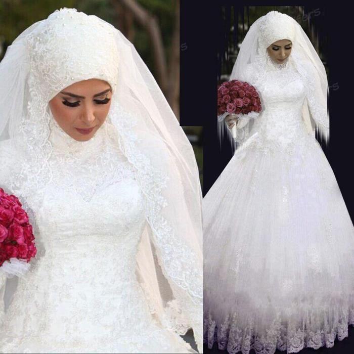 Robe de mariée-mariage caftan longue col