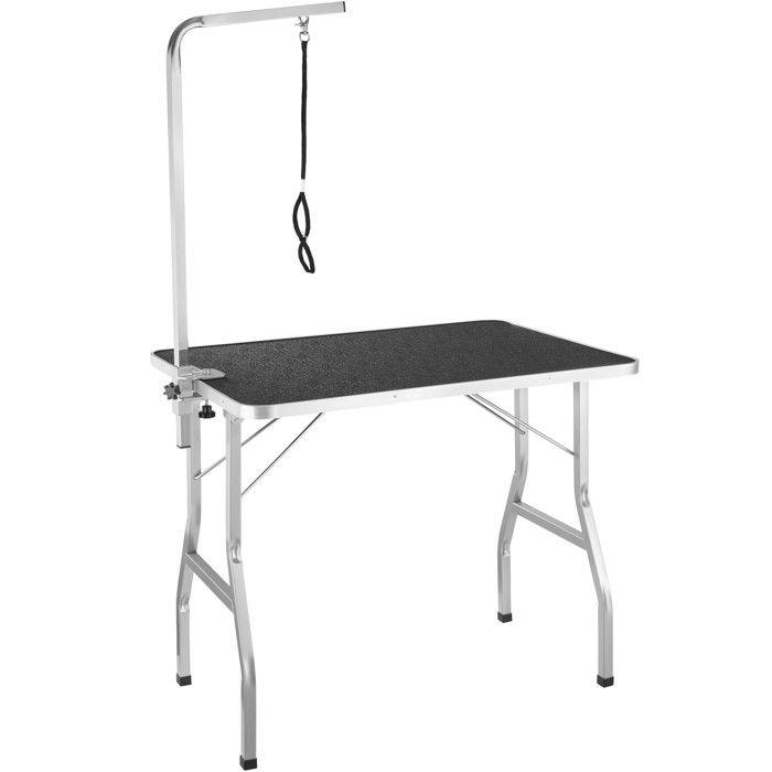 de Toilettage de Pliante Sangle Table Surface et Noir Maintien TECTAKE Antidérapante et Travail Gris avec de xtBohrdsQC