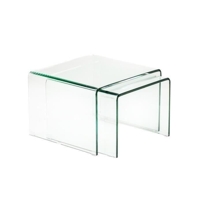 Vitra table basse gigogne 50cm structure en verre tremp - Table basse gigogne verre ...