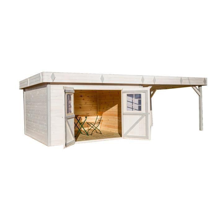 Abri de jardin en bois madriers massif 29,04m² avec terrasse couverte toit plat et bac acier