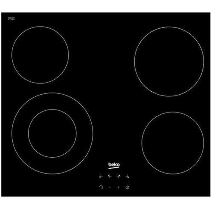 BEKO HIC64402E table plaque de cuisson vitrocéramique - 4 foyers - L58 x P51cm - Revêtement verre - Noir