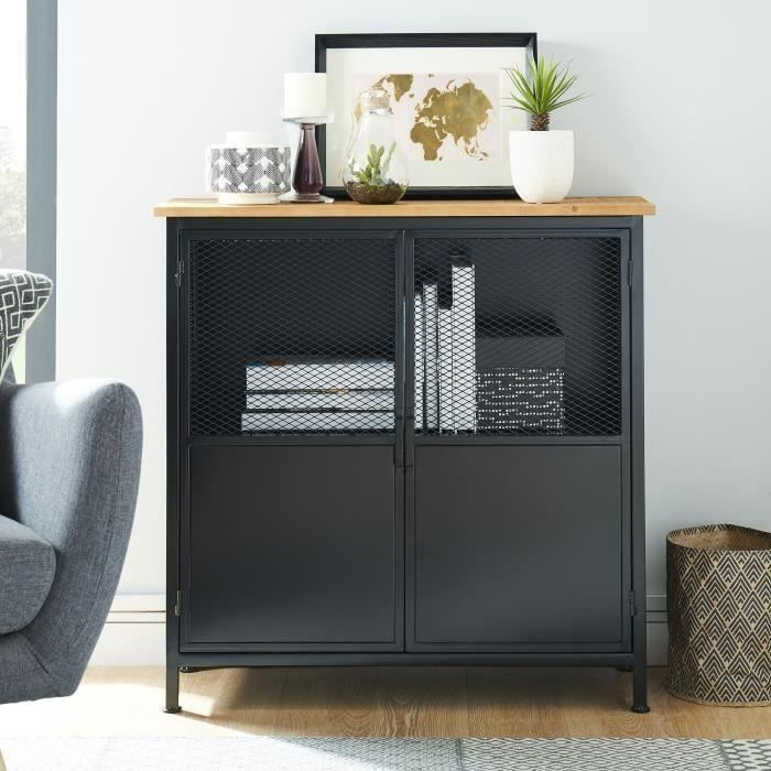 atelier buffet industriel en m tal laqu noir et pin massif l 80 cm achat vente buffet. Black Bedroom Furniture Sets. Home Design Ideas