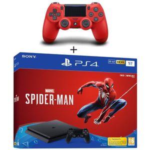 CONSOLE PS4 NOUVEAUTÉ Pack PS4 1 To Noire + Marvel's Spider-Man + 2ème M