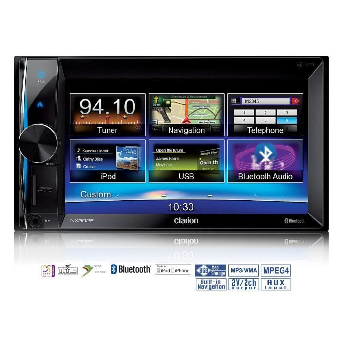 clarion nx302e autoradio gps 6 5 usb bluetooth parrot autoradio double din achat vente. Black Bedroom Furniture Sets. Home Design Ideas